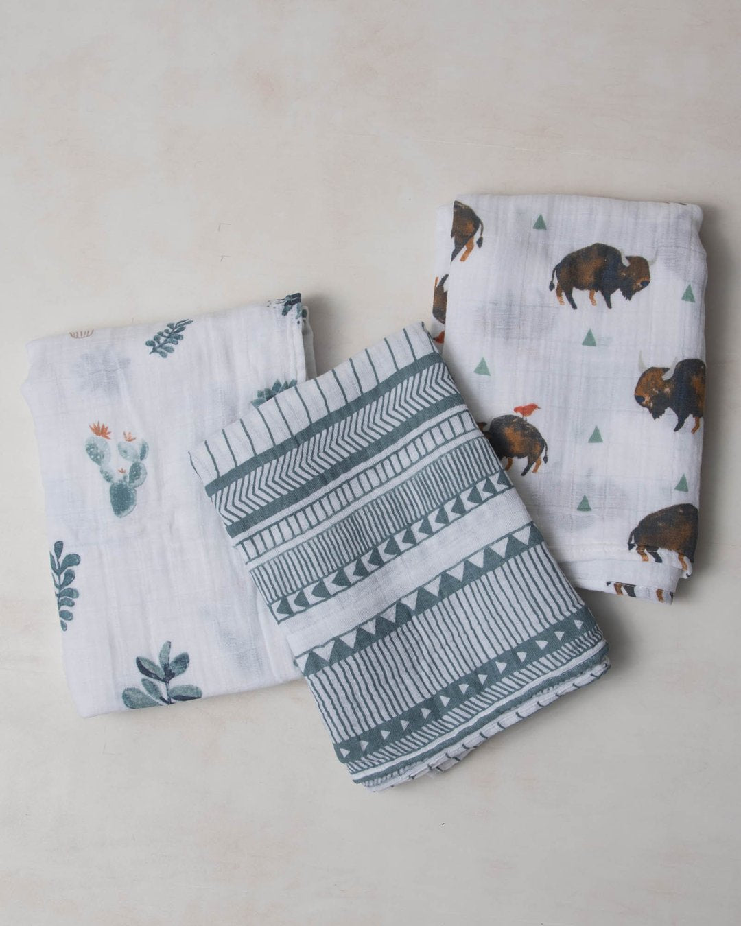 Little Unicorn Cotton Muslin Swaddle Blanket Set - Bison