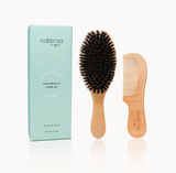 Natemia Wooden Hair Brush and Comb Set for Kids