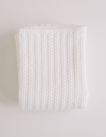 Evangeline Cable Knit Baby Blanket-Bright White