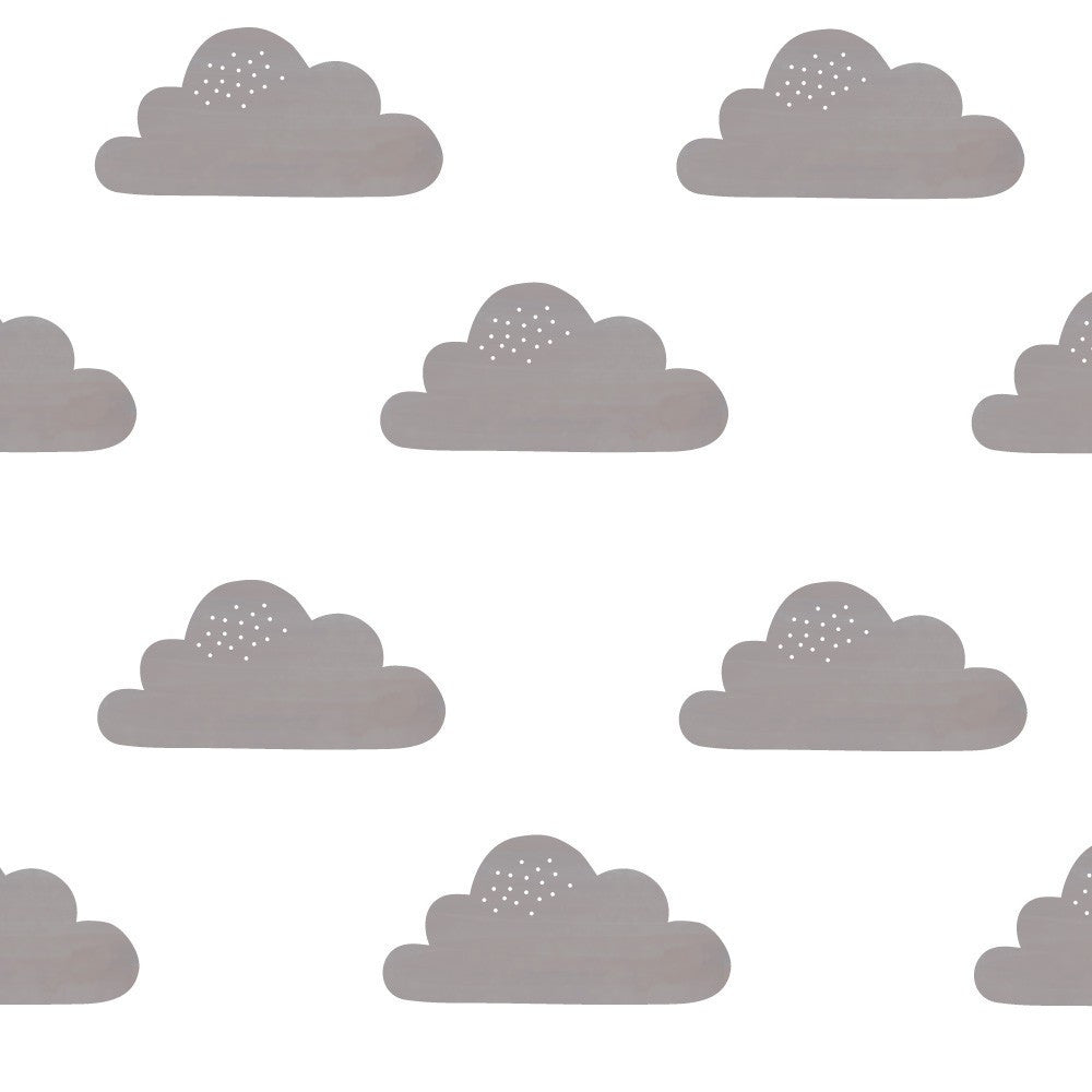 Clouds Fabric Wall Decal - Grey