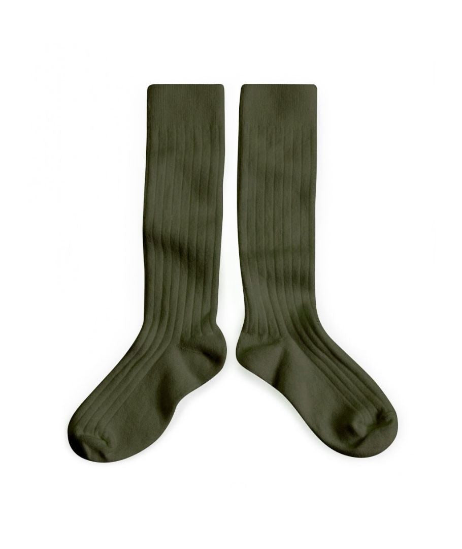 fawn&forest Collégien Mon General Knee Green High Socks - fawn&forest