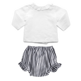 Louelle Gift set | Double Button Blouse & Harbor Island Stripe Frill Bloomer