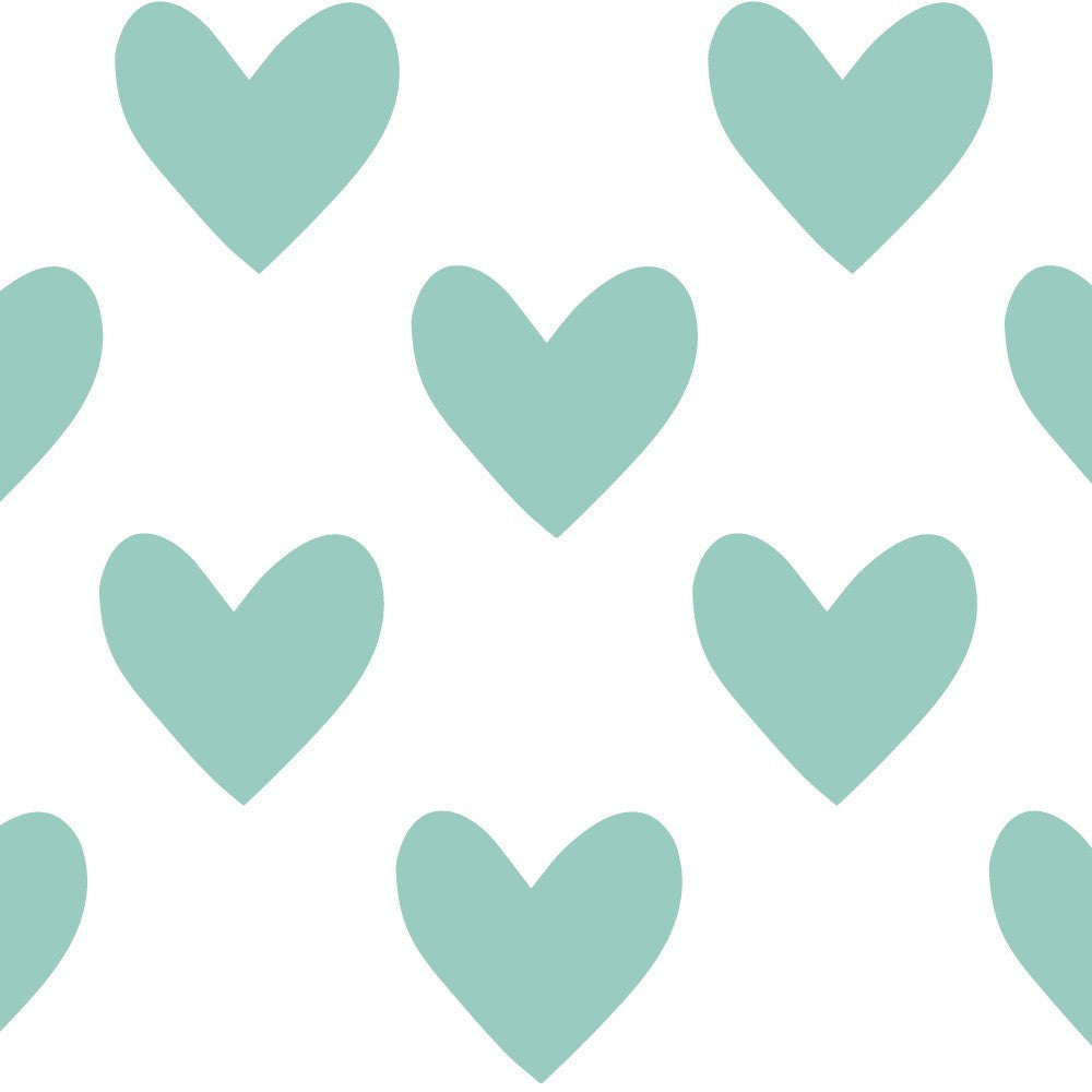 Hearts Fabric Wall Decal - Duckegg