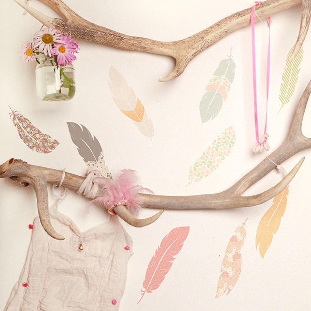 Floating Feathers Fabric Wall Decal