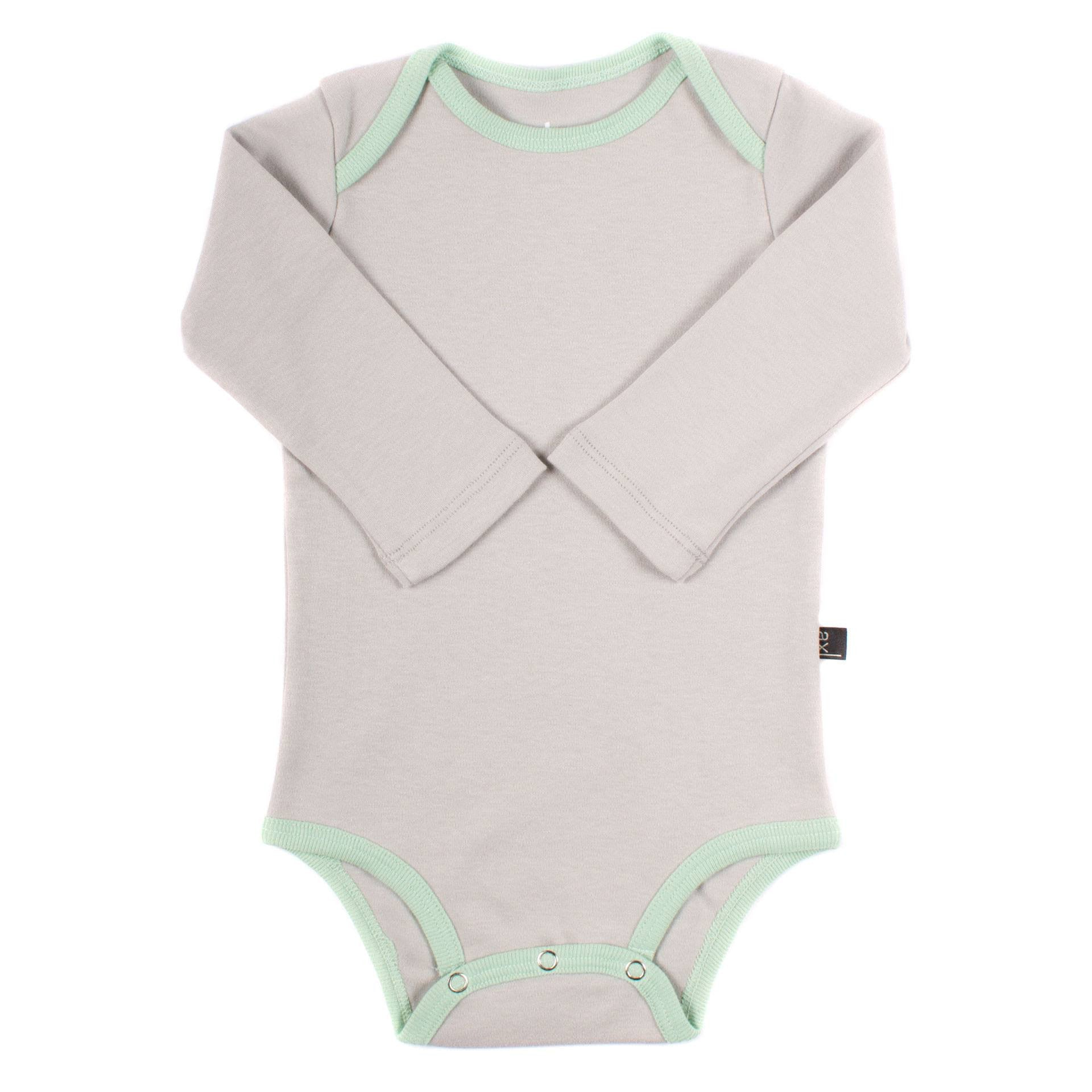Organic Cotton Long Sleeve Bodysuit - Fog