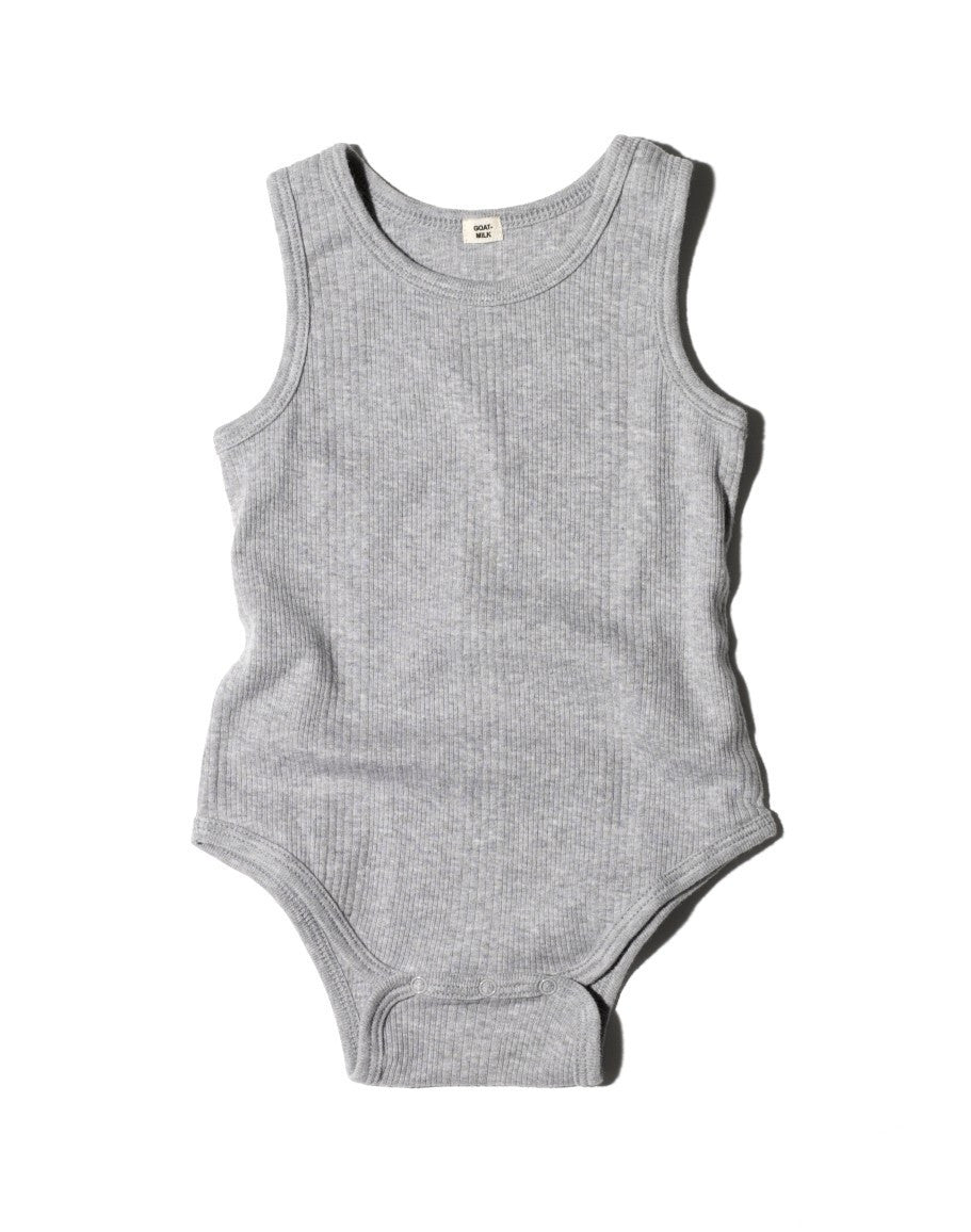 Goat-Milk Ribbed Sleeveless Onepiece - Cloud