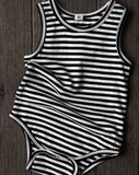 Goat-Milk Sleeveless Striped Onepiece