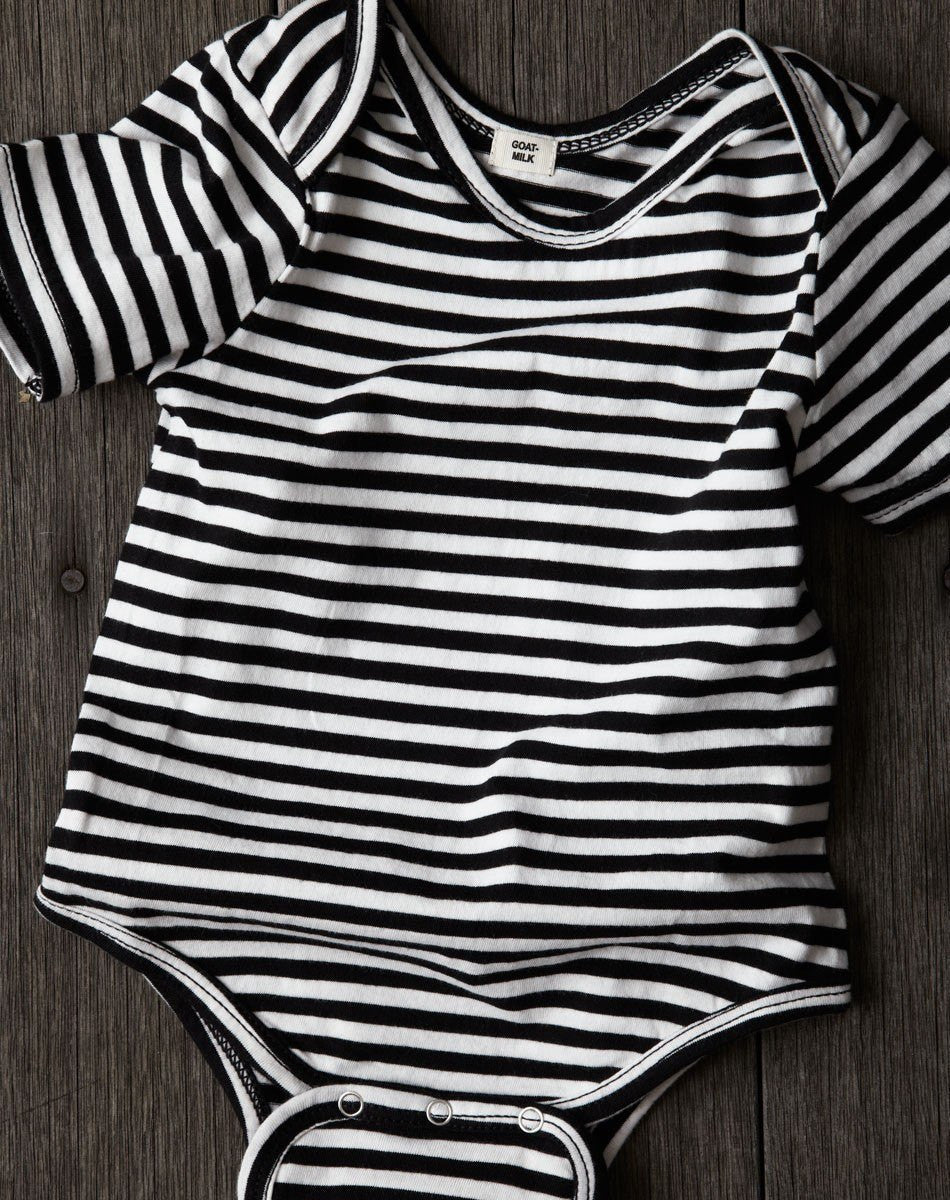 Goat-Milk Goat-Milk Striped Short Sleeve Onepiece - fawn&forest