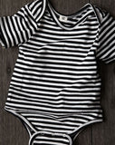 Goat-Milk Striped Short Sleeve Onepiece