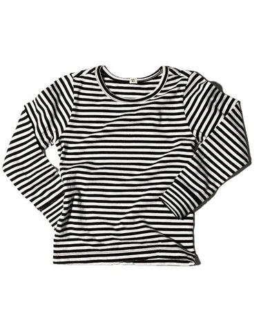 Goat-Milk Striped Thermal Long Sleeve Top