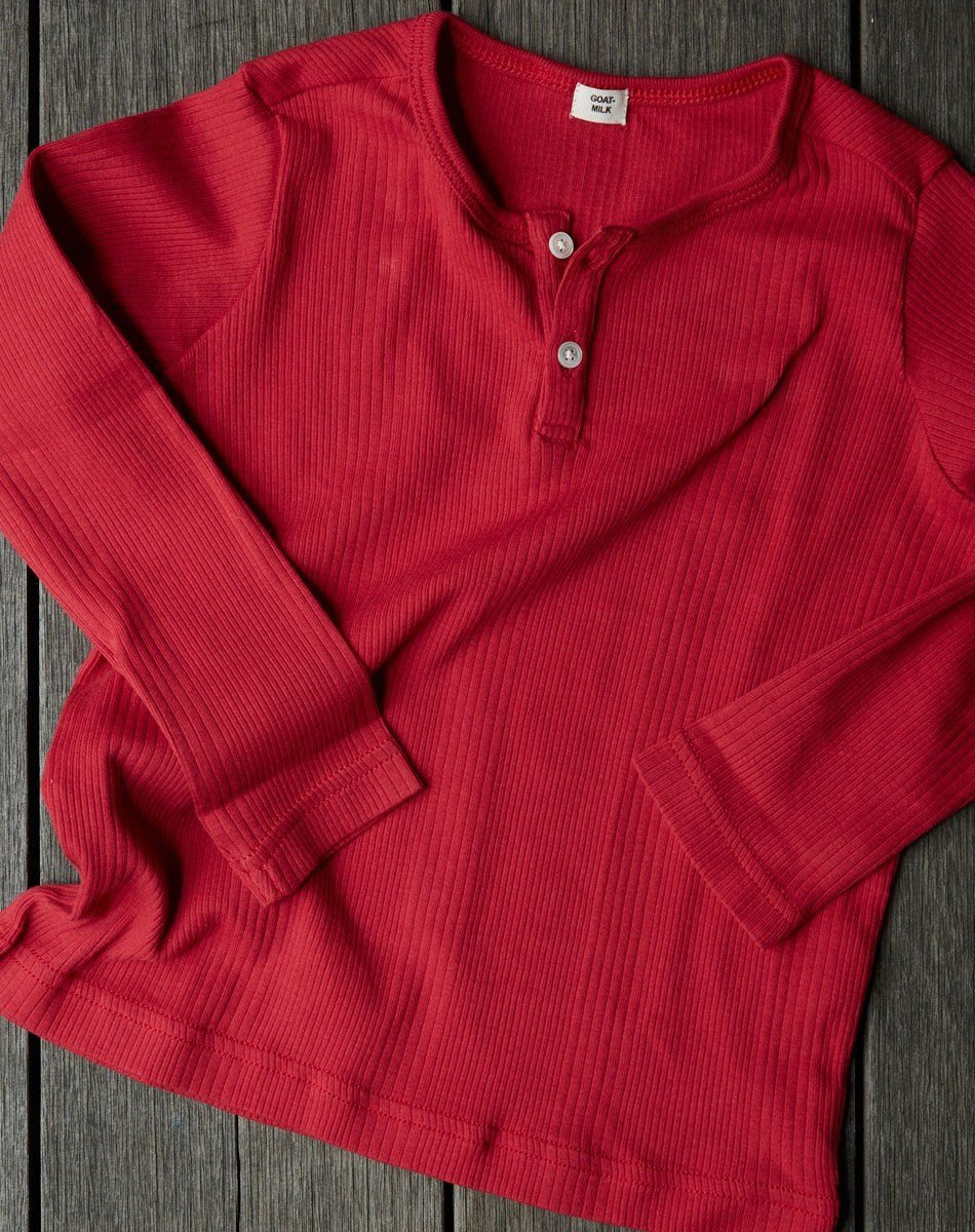 Goat-Milk Goat-Milk Long Sleeve Henley Ribbed - fawn&forest