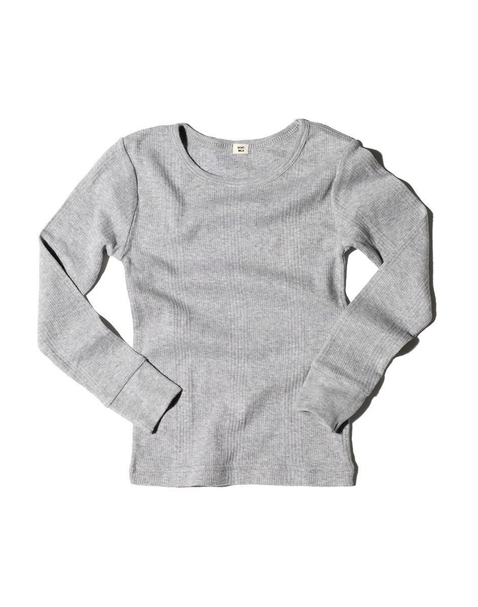 Goat-Milk Ribbed Thermal Top - Grey