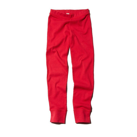 Goat-Milk Girls Ribbed Thermal Bottoms - Crimson
