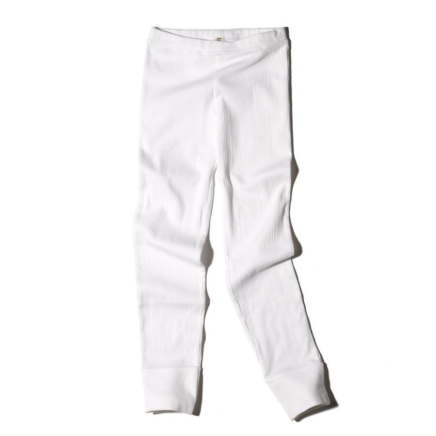 Goat-Milk Girls Ribbed Thermal Bottoms - White