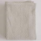 Evangeline Herringbone Baby Blanket-Grey/ Natural