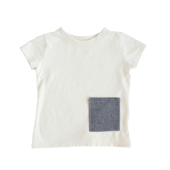 fawn&forest Tortoise & the Hare Hemp Tee - Charcoal Linen Pocket - 12/18m - fawn&forest