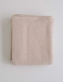 Evangeline Herringbone Baby Blanket-Blush/Natural