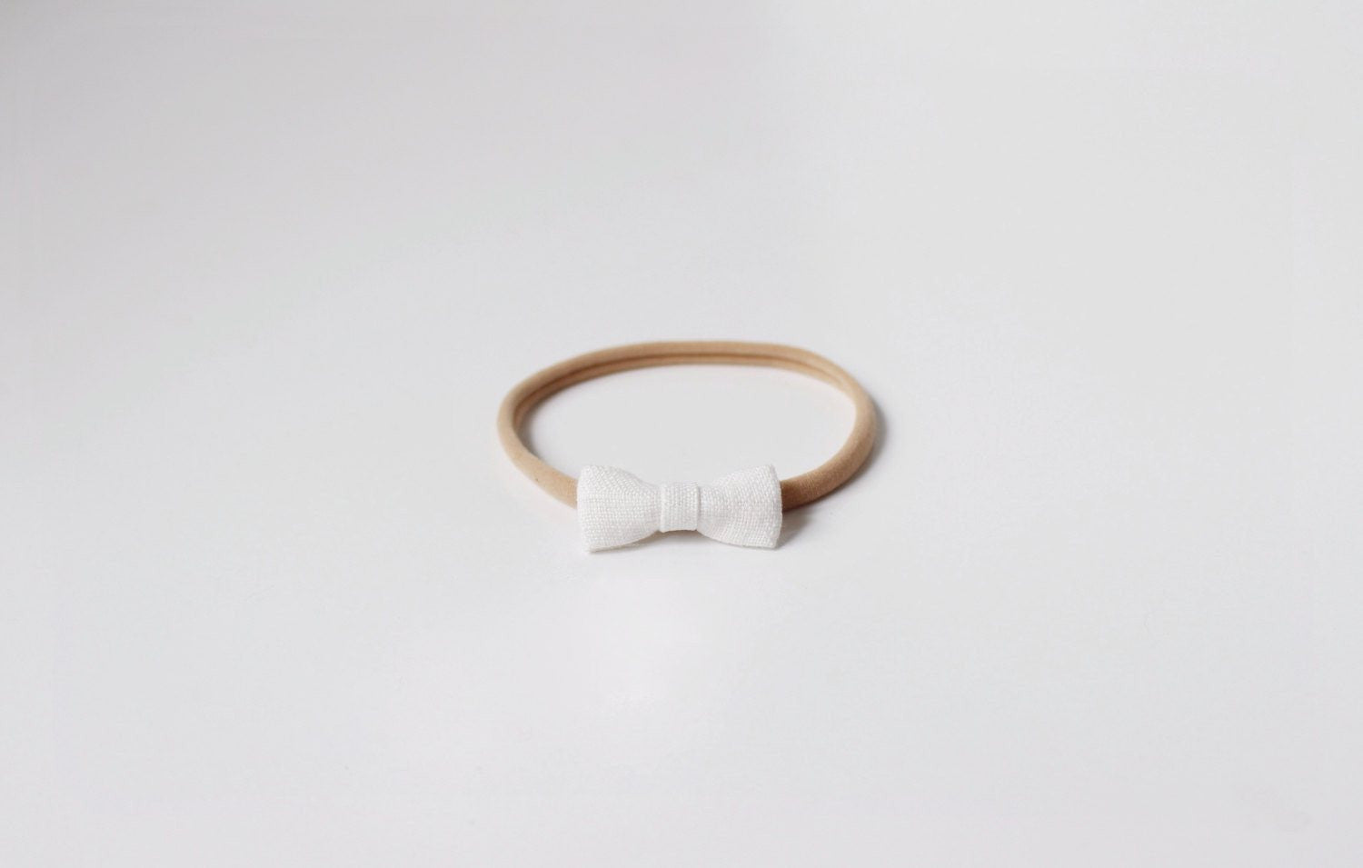 fawn&forest Little Crane Tiny White Linen Bow Headband - fawn&forest