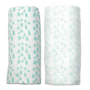 Peppa Organic Muslin Swaddles- 2 pack - Greenhouse