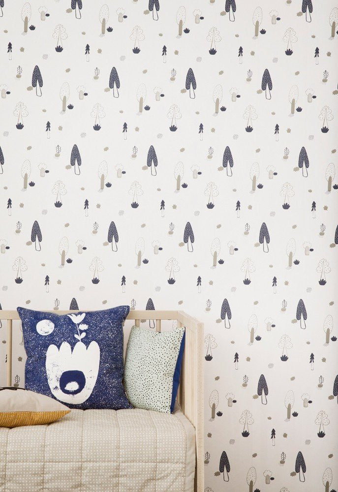 Ferm Living Forest Wallpaper - Blue