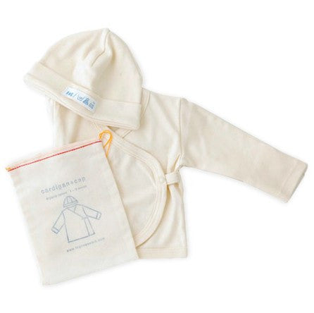 fawn&forest Fog Linen Organic Newborn Cap & Kimono Top Set - fawn&forest