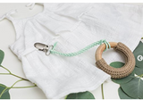 Madeline's Box Leather Suede Braided Pacifier Clip