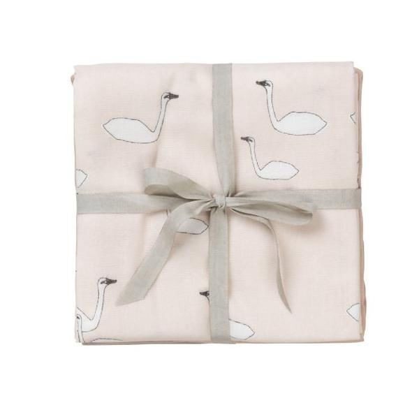 Ferm Living Kids Muslin Squares - Swans Rose (set of 3)
