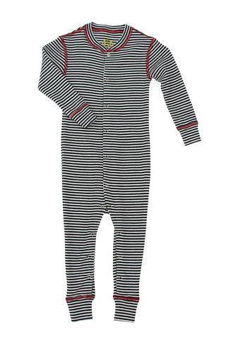 Merino Thermal Romper - B+W Stripe