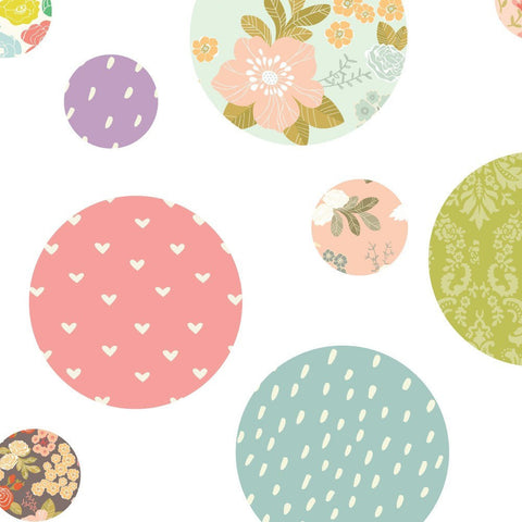 Polka Dot Fabric Wall Decal - Floral