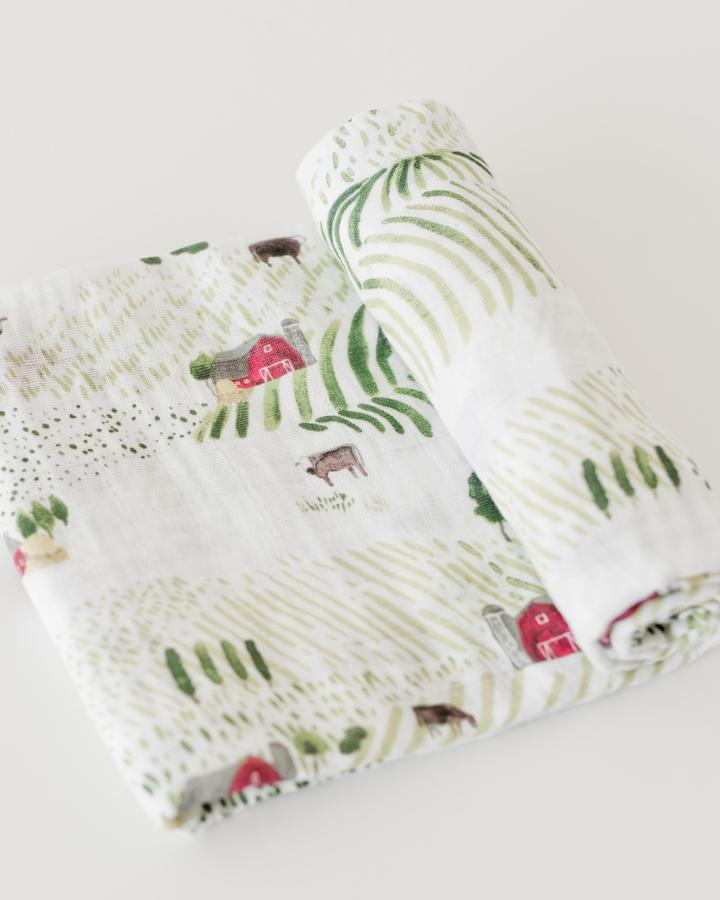 Little Unicorn Cotton Muslin Swaddle Blanket- Rolling Hills