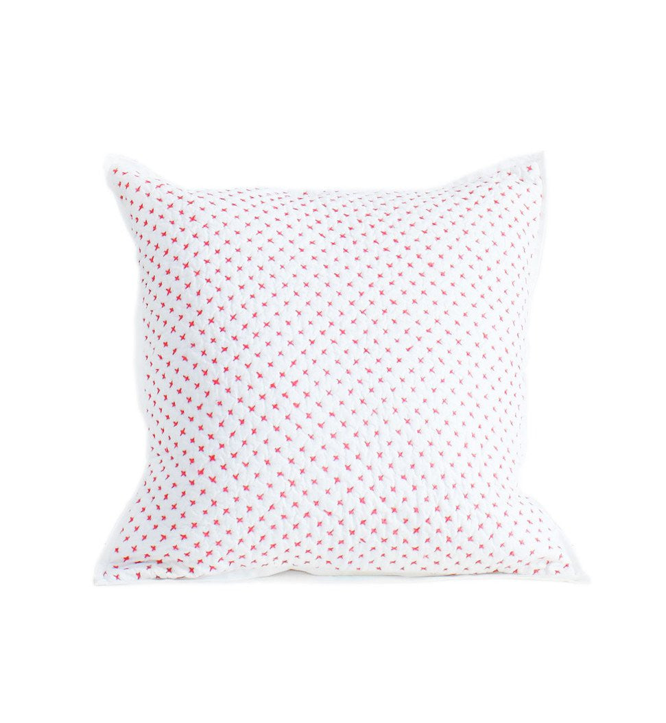 Auggie Cross Stitch Square Pillow Cover - Pink