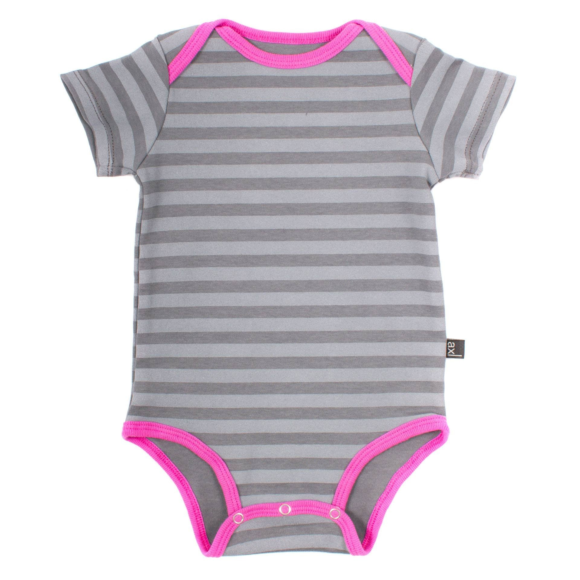 Organic Cotton Short Sleeve Bodysuit - Fog Stripe / Orchid