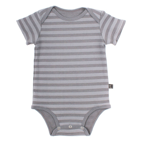 Organic Cotton Short Sleeve Bodysuit - Storm Stripe / Storm