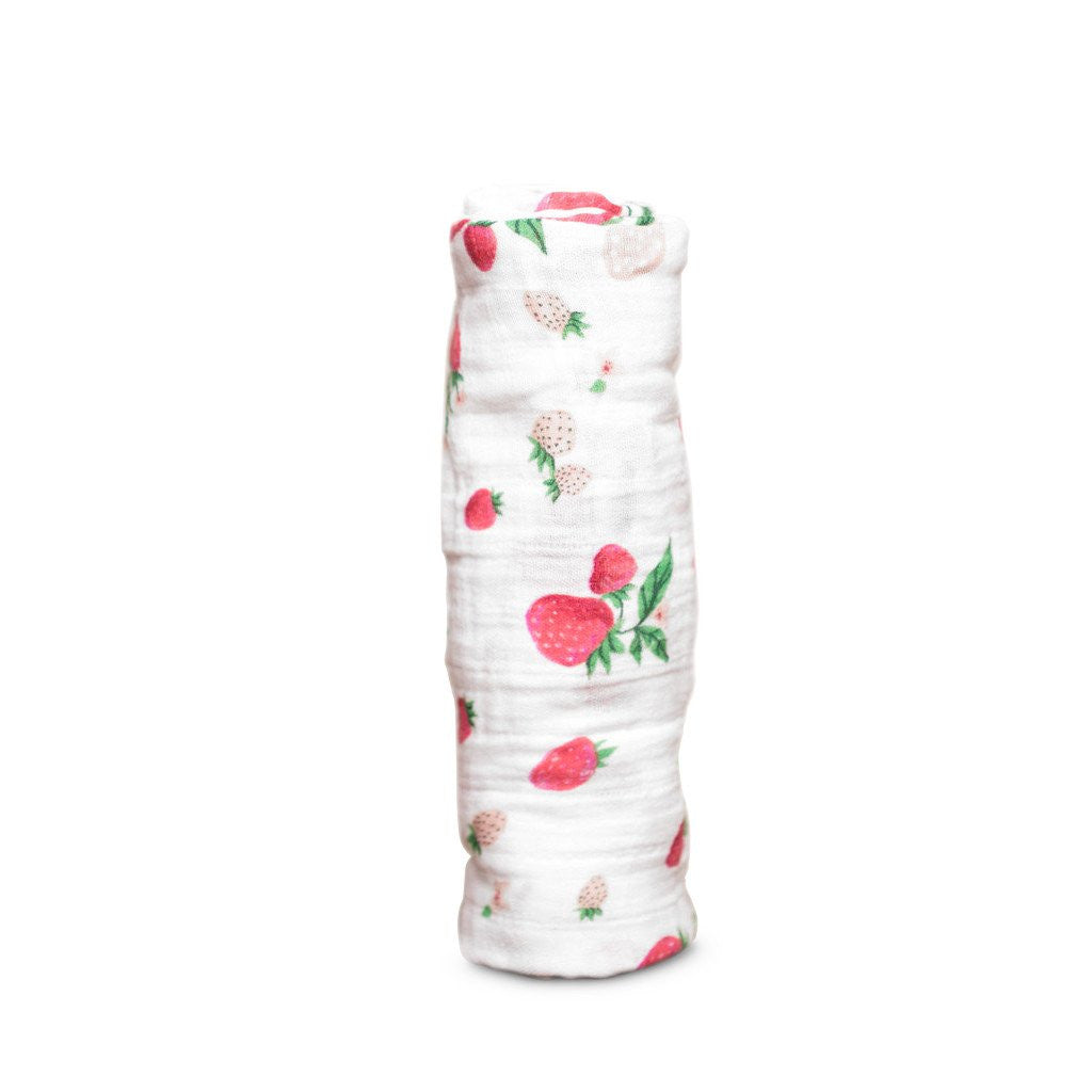 Little Unicorn Strawberry Swaddle Blanket