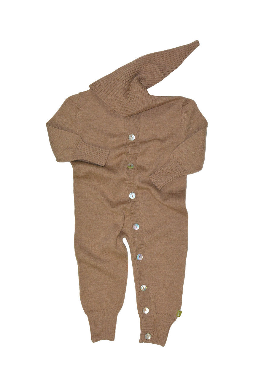 Nui Organics Merino Wool Milo Hooded Romper - fawn&forest