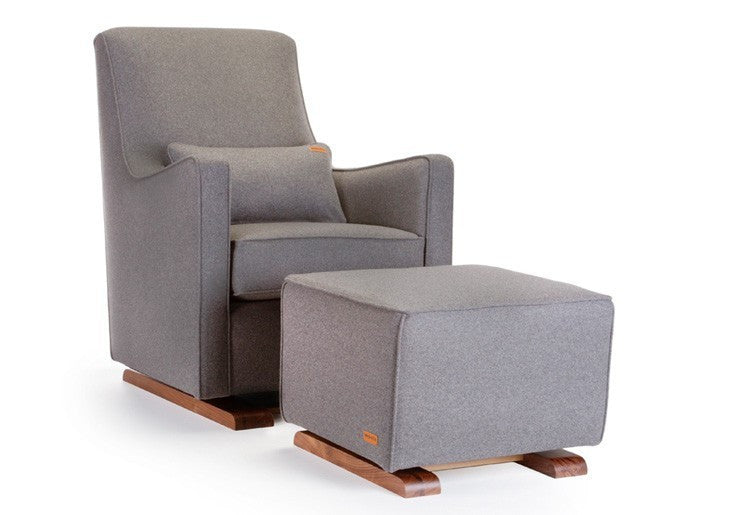Monte Luca Ottoman Limited Edition Wool and Walnut Collection - Dark Grey