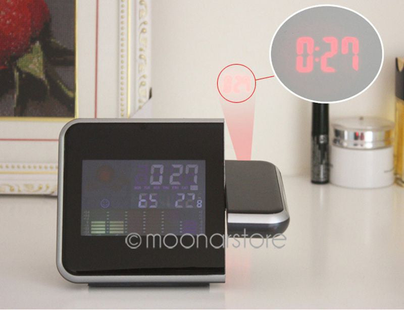 Hot Projection Weather LCD Digital Alarm Clock, Backlight LED Color Display Projector Snooze Alarm Hours Clock