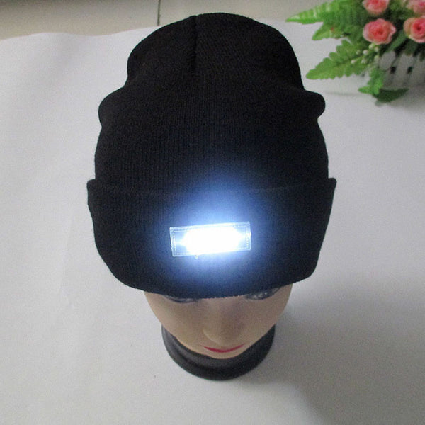 5-LED Lighted Cap Winter Warm Beanie Angling Camping Hat 5 Colors