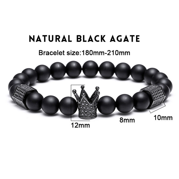 Mcllroy Trendy Imperial Crown & Stoppers Bracelets Men Natural Stone Beads For Women Men Jewelry Pulseras Mujer