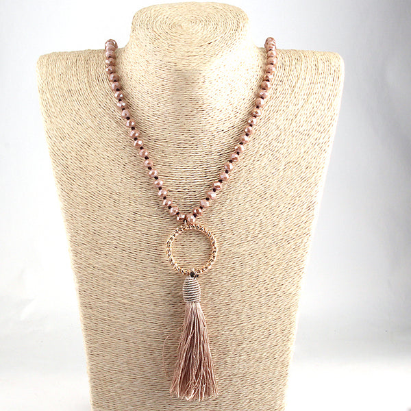 MOODPC Fashion Bohemian druzy Tribal Rustic Soldered Artisan Jewelry dark brown Crystal Glass Beads Knotted Long Tassel Necklace
