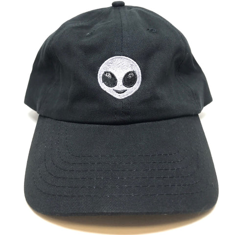 Alien emoji black dad hat