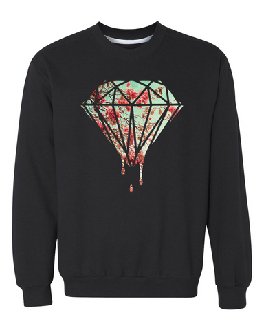 Cherry Blossom Diamond Drip Crewneck Sweater