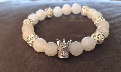 Cracked Frost White Beaded Statement Natural Stone Stretch Fashion Bracelet Gift For Him/Her