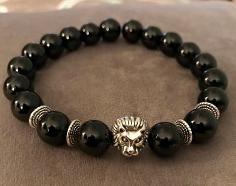 Black Onyx Beaded Statement Natural Stone Stretch Fashion Bracelet Gift For Him/Her