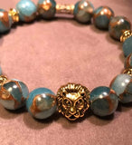 Natural Lake Blue Cloisonne Stone Beaded Statement Natural Stone Stretch Fashion Bracelet
