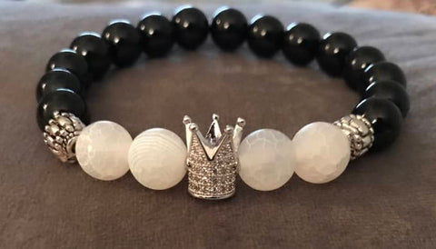 Cracked White Stone Beaded Statement Natural Stone Stretch Fashion Bracelet Gift For Him/Her