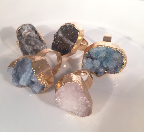 Druzy Gold Rings - Sacred Motivation - 1