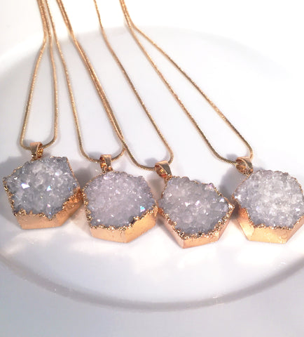 Druzy~Hexagon Necklace - Sacred Motivation - 1
