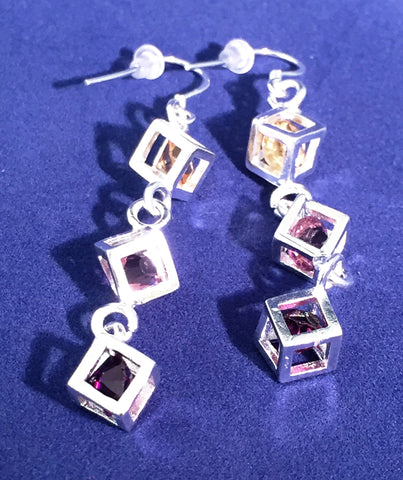Multi Colored Cubic Earrings - Sacred Motivation - 1