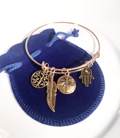 Dragon fly/Hamsa Hand~Charm Bracelet - Sacred Motivation - 1
